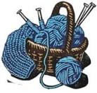 blue knitting basket