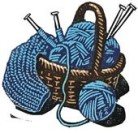 blue knitting basket