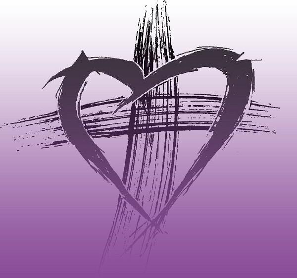 Purple Lent Heart Cross